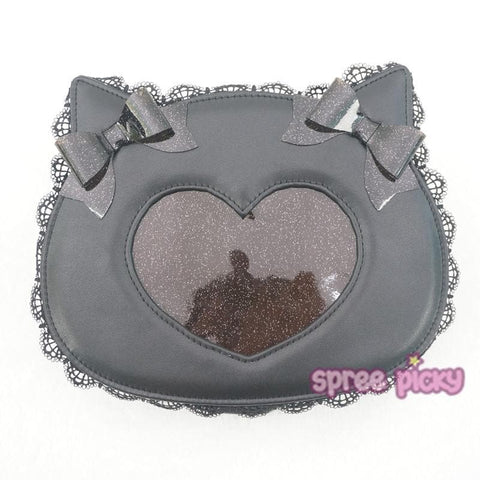 Black Kawaii Bowknot Cat Head Shoulder Bag SP167102