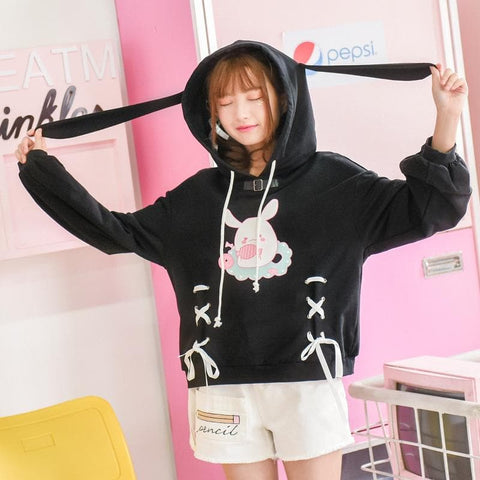 Black Kawaii Bunny Laced Hoodie Jumper SP1710977