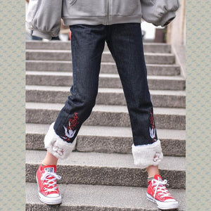 Black Kawaii Fleece Denim Pants S12911