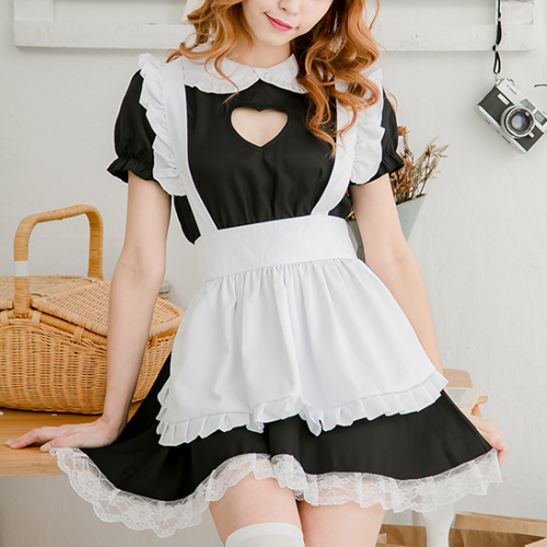 Black Kawaii Heart Hollow Out Maid Uniform Set SP13909
