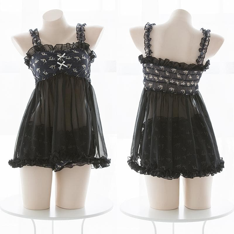 Black Kawaii Kitty Moon Lingerie Set SP13829