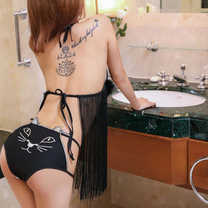 Black Kawaii Kitty Tassels Lingerie Set SP13353