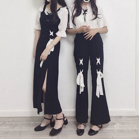 Black Kawaii Laced Bow Top/Pants/Dress Set SP1710516