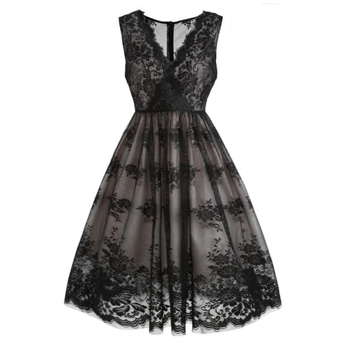 6e2af426b7880 Black Lace Floral Swing Dress SP13906