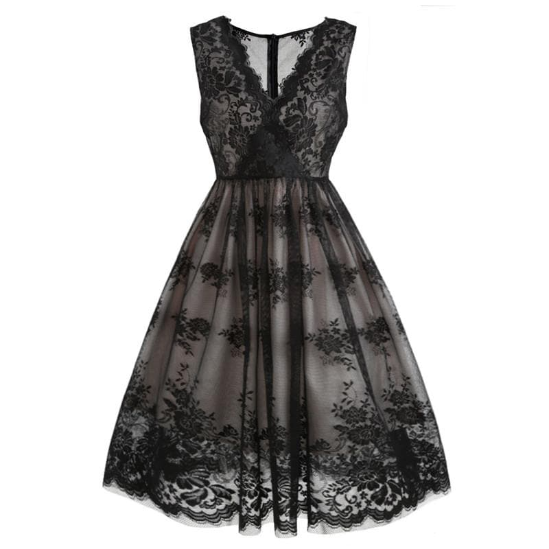 Black Lace Floral Swing Dress SP13906