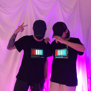 Black Light Up Battery Tee Shirt S12721