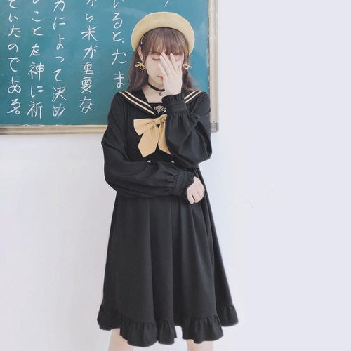 Black Mori Sailor Bow Dress SP14386