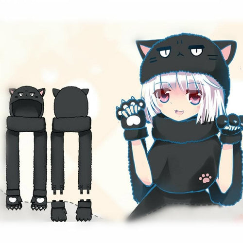Black Neko Paw Hat Gloves Scarf SP1711408