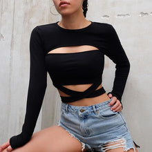 Load image into Gallery viewer, Black Opening Chest Cross Laced Tee Shirt SP14442
