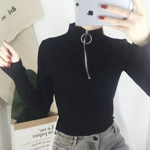 Black Punk Ring Zipper Top SP1811766