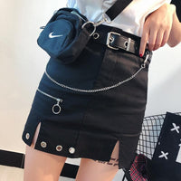 Black Punk Zipper Skirt S12975
