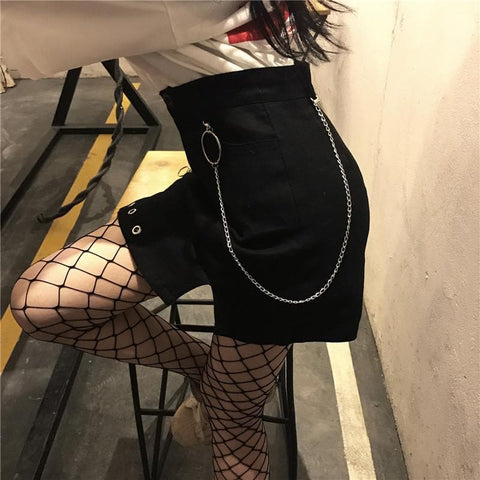 Black Retro Chic Punk Ring Skirt SP1811765