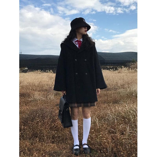 Black Retro Sailor Woolen Coat SP14274