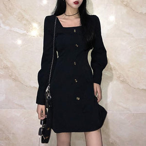 Black Skinny Long Sleeve Dress SP14183