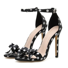 Load image into Gallery viewer, Black Spot Bow High Heel Sandles SP14069