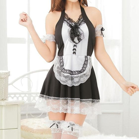 Black Sweet Lace Bow Maid Dress S12812
