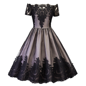Black Vintage Backless Lace Dress SP13794