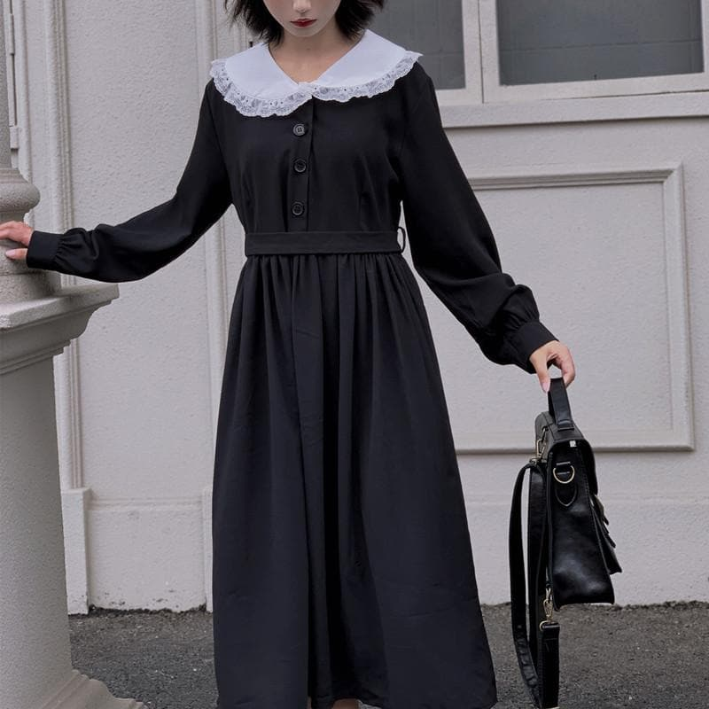 Black Vintage Sailor Long Sleeve Dress SP14304