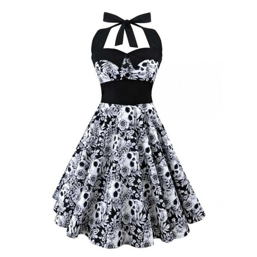Black Vintage Skull Dress SP13797