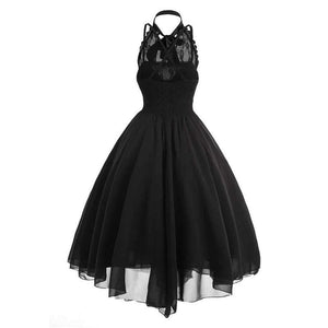 Black Vintage Sleeveless Lace Dress SP13793