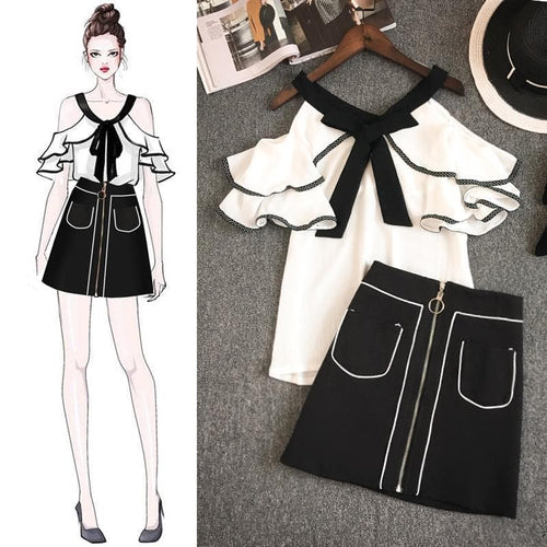 Black White Falbala Off-Shoulder Shirt/Skirt Set SP14041