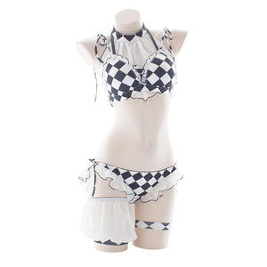 Black White Grid Falbala Lingerie Set SP13373