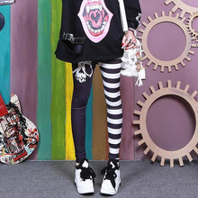Load image into Gallery viewer, Black White Skull Stripe Pants SP14091