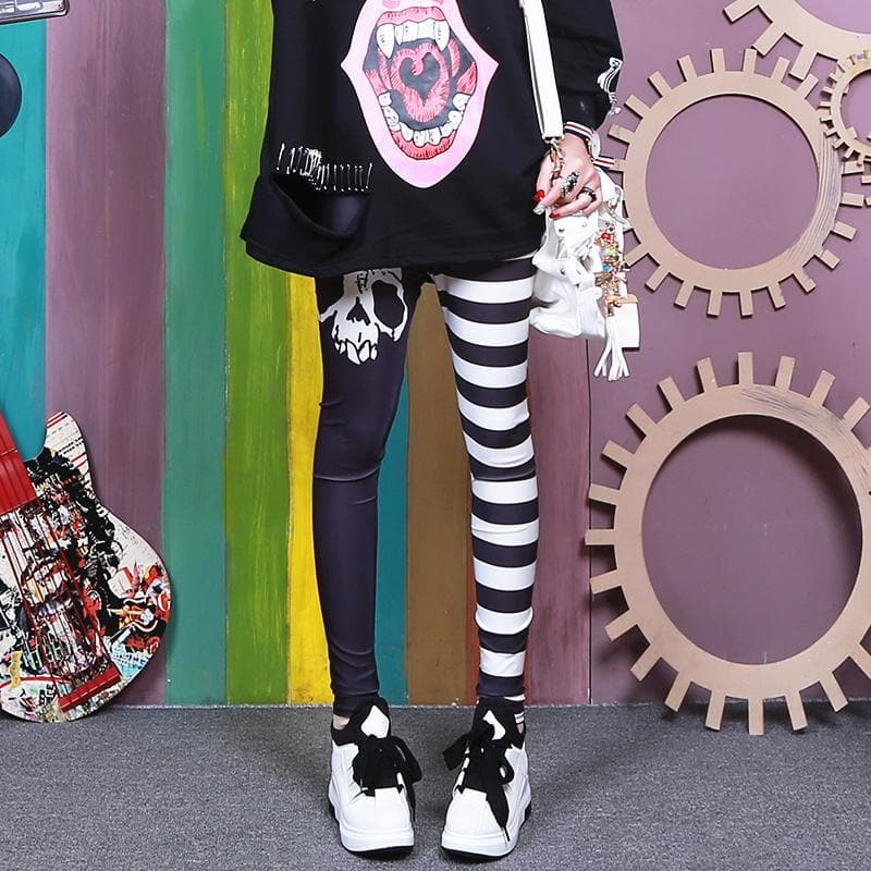 Black White Skull Stripe Pants SP14091