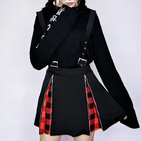Black and Red Grid Suspender Skirt SP1811756