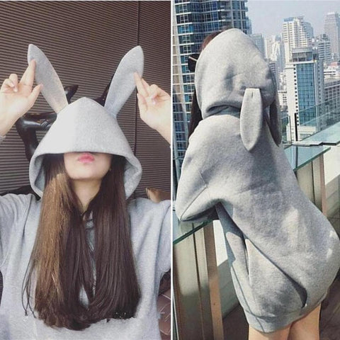 Black/Grey Bunny Ear Hoodie Coat SP1710722