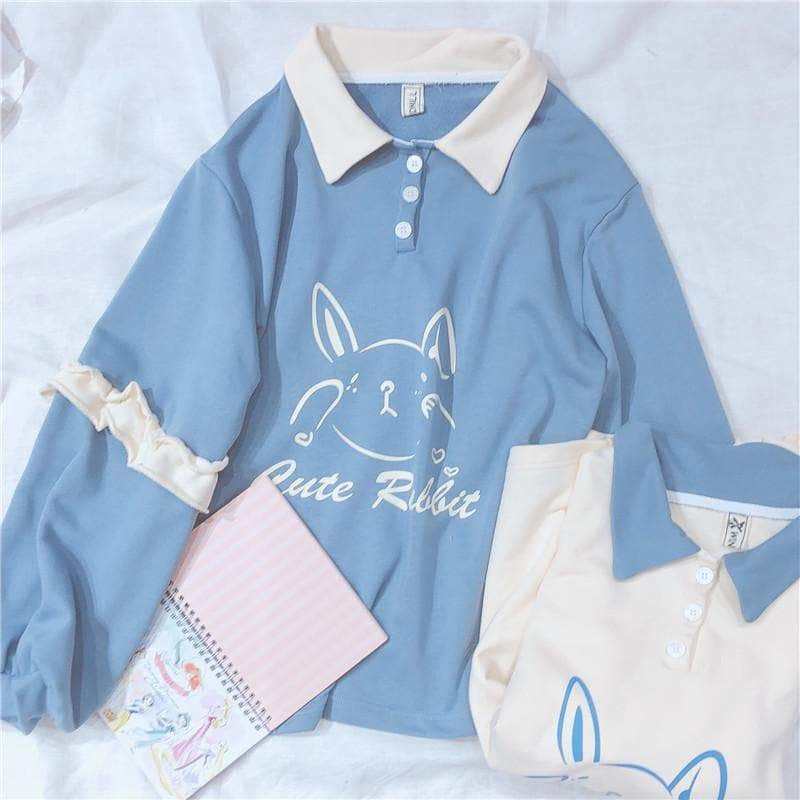 Blue/Beige Cute Rabbit Falbala Polo Shirt S12994