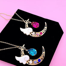 Load image into Gallery viewer, Blue/Pink Crystal Heart Drop Moon Necklace SP1711053