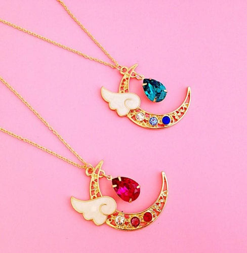 Blue/Pink Crystal Heart Drop Moon Necklace SP1711053