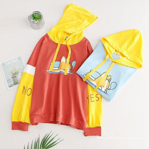 Blue/Red Yes/No Sleeping Dog Hoodie Jumper SP13418