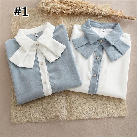 Blue/White Royal Lady Corduroy Blouse SP1710750
