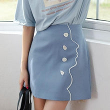 Load image into Gallery viewer, Blue Kawaii Face Button Skirt SP13740