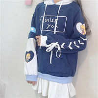Blue Kawaii Laced Fleece Hoodie Jumper S12918