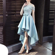 Load image into Gallery viewer, Blue Off Shoulder Flower Lace Dress SP14449