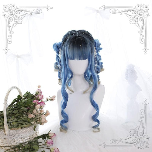 Blue Pastel Lolita Long Curl Wig SP13813