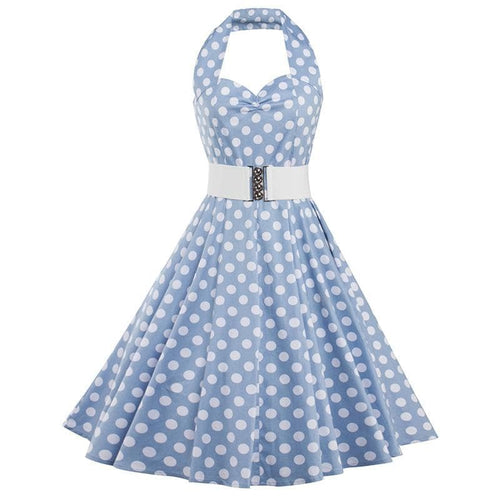 Blue Polka Dot Halter Belted Dress SP13924
