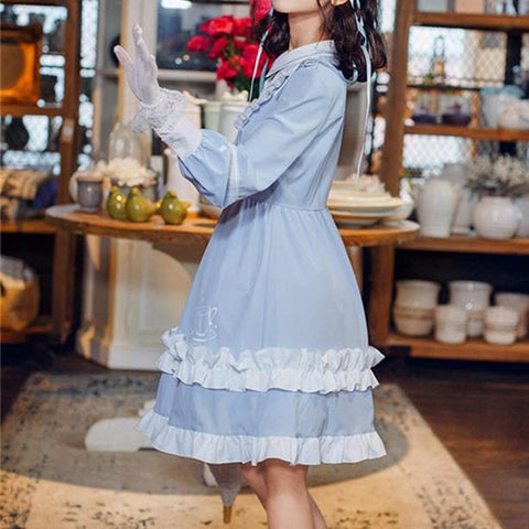 Blue Retro Falbala Lolita Dress SP13577