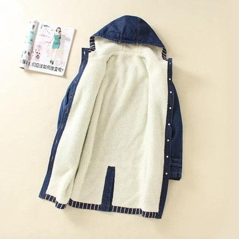 Blue Winter Fleece Midi Denim Hoodie Coat SP1710939