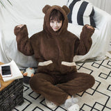 Brown/Beige Cute Warming Bear Pajamas Set SP1711244
