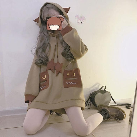 Brown/Beige Kawaii Star Devil Hoodie Jumper S12912