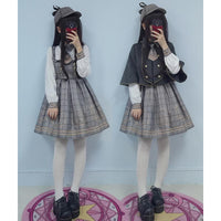 1a0a4d7205 Brown Grey Vintage Bear Grid Lolita Dress Poncho SP1710738