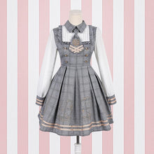 Load image into Gallery viewer, Brown/Grey Vintage Bear Grid Lolita Dress/Poncho SP1710738