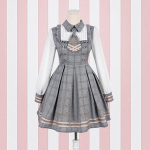 Brown/Grey Vintage Bear Grid Lolita Dress/Poncho SP1710738