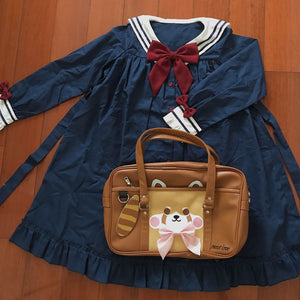 Brown Sweet Love Bow Red Panda Bag S13070