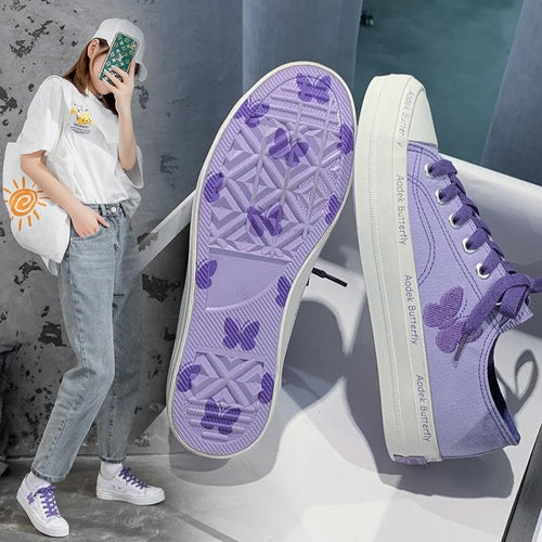 Embroidery Butterfly Low Lacing Canvas Sneakers SS0789