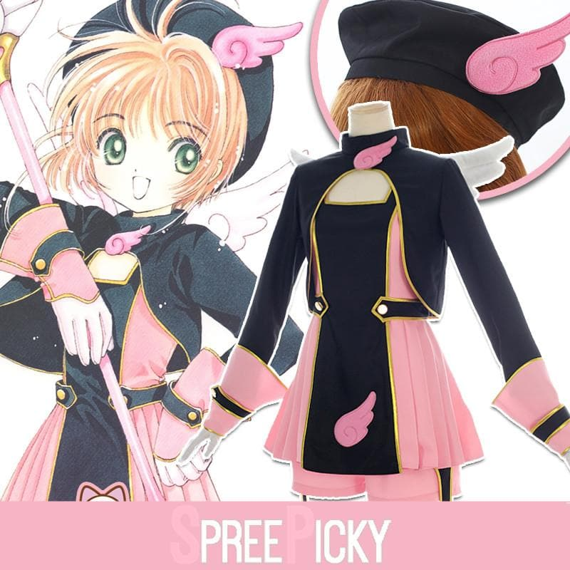 Cardcaptor Sakura Pink Black Battle Cosplay Costume SP1711507